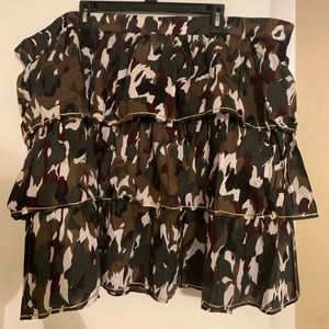 Army Print Ruffle with Gold Accent Mini skirt